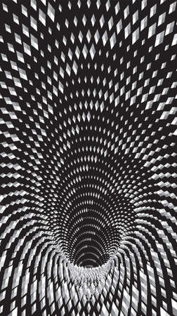 Tunnel or wormhole. Digital wireframe tunnel. 3D tunnel grid. Background abstract vector image. Modern screen vector design for mobile Vettoriali
