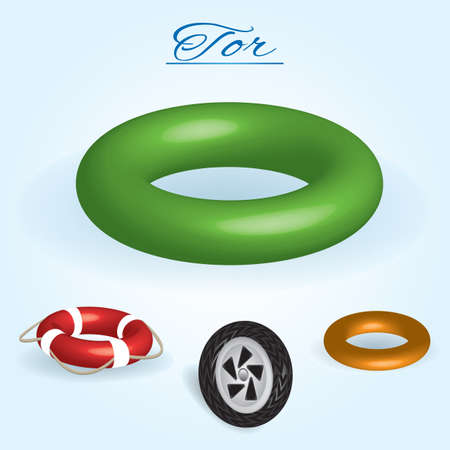 Tor. Image of volumetric geometrical figure with examples of such objects form. Vector illustration