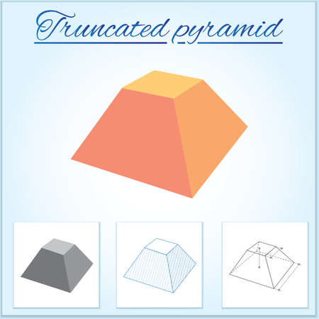 Truncated pyramid. Image of volumetric geometrical figure with examples of such objects form. Vector illustration