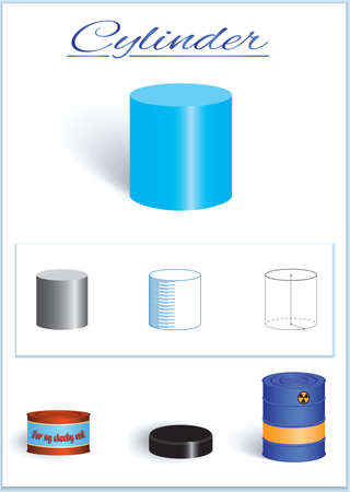C.ylinder. Image of volumetric geometrical figure with examples of such objects form. Vector illustration