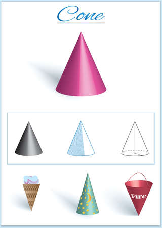 Cone. Image of volumetric geometrical figure with examples of such objects form. Vector illustration