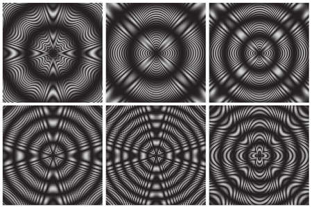 Set of Dotted Halftone Vector Patterns or Textures. Stipple Dot Backgrounds with Black Circles