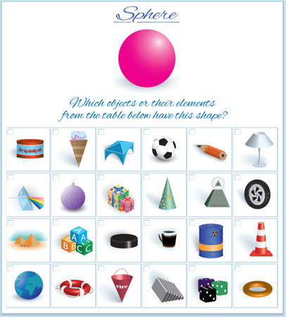 Sphere. Image of volumetric geometrical figure with examples of such objects form. Vector illustration