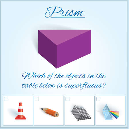 Prism. Image of volumetric geometrical figure with examples of such objects form. Vector illustration