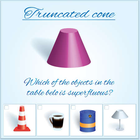 Truncated cone. Image of volumetric geometrical figure with examples of such objects form. Vector illustration