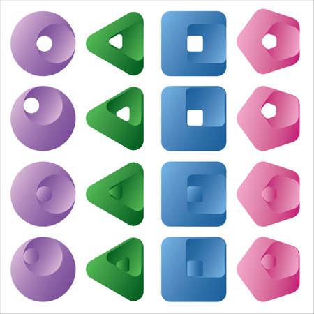 Set of 3d multicolored design elements. Vector illustration