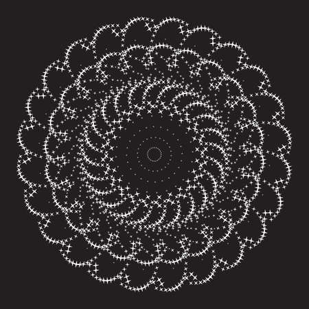 Flower. Dotted Halftone Vector Spiral Pattern or Texture. Stipple Dot Backgrounds with White Circles