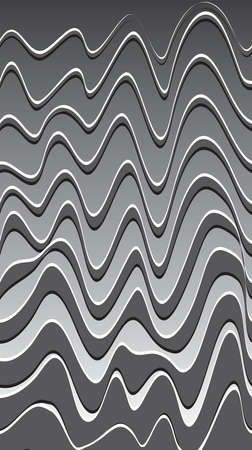 Black-white abstract paint wavy background. Wavy fabric surface. Modern screen vector design for mobile Vettoriali