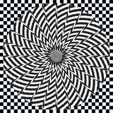 Abstract striped black and white Spiral background. High Saturated. Gradients Different Geometrical Shapes