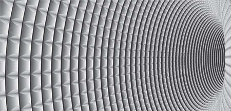 Tunnel or wormhole. Optical illusion. Digital wireframe tunnel. Horizontal banner. Background abstract vector image