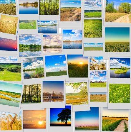 De natuur en reizen achtergrond. Collage van beelden