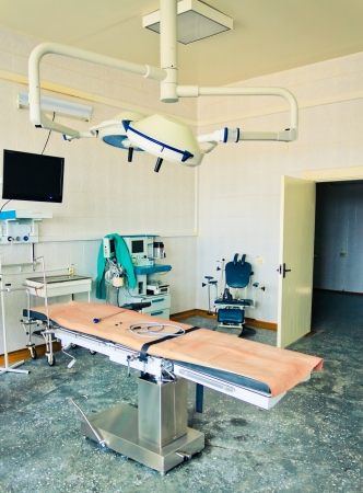Equipment for the operating room. Special lamps, monitor and desk. Vertical format.