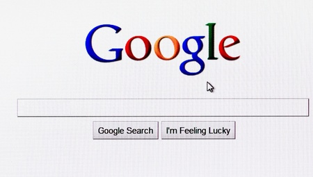 Homepage of google com, the biggest search engine