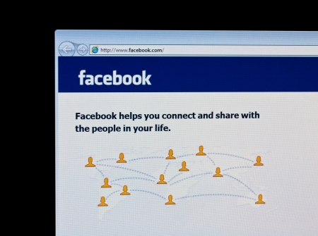 Homepage of Facebook.com, the biggest social network website Editorial