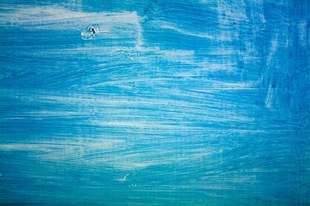 Superf�cie da pintura velha madeira sobre com branco e azul
