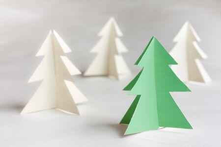 Christmas tree made of paper. Christmas card.