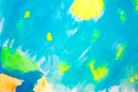Hand painted cosmic landscape with Sun, Earcth and stars on watercolour paper Stock Photo - 17287370
