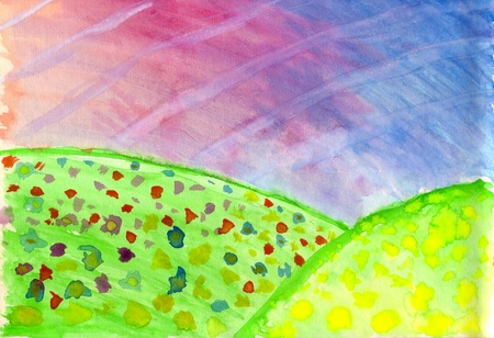 Hand painted bright landscape on watercolour paper photo