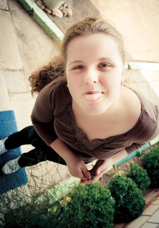 Funny Portrait Of A Beautiful Young Women  Wide Angle Stock Photo - 17337468
