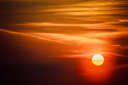 Big Sun Setting. Orange sky and dramatic sunbeams Stock Photo - 17471825