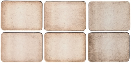 Set high resolution vintage old retro aged paper card isolated on white background  Vintage Paper Badges XXL  Size of each card - 9 mp  3600x2500px  photo