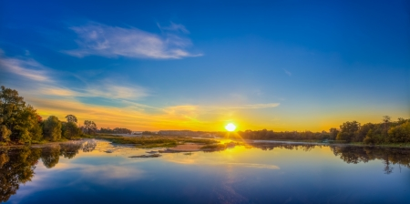 Great Morning. Beautiful Lake On Sunrise. photo