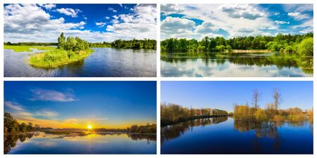 Summer Forest River With Reflection Of The Coast  Set, Collage Stock Photo - 18726935