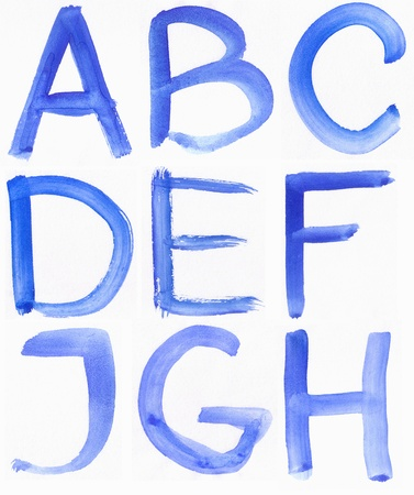 Handwritten Blue Watercolor ABC Alphabet / Painted Blue Watercolor Alphabet, Isolated. Letters A, B, C, D, E, F, J, G, H photo