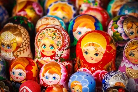 progression: Colorful Russian nesting dolls matreshka