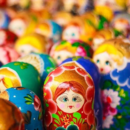 Colorful Russian nesting dolls matreshka Stock Photo