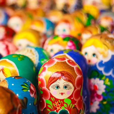 russian nested dolls: Colorful Russian nesting dolls matreshka Stock Photo