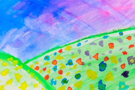 Hand Painted Bright Landscape On Watercolor Paper photo