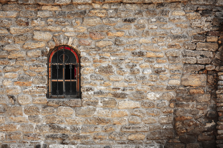 lattice window: Old wall from the Jerusalem stone and window with lattice window Stock Photo