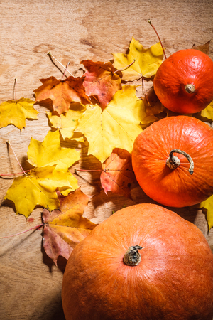 Autumn background with colored leaves and pumpkin on wooden board.