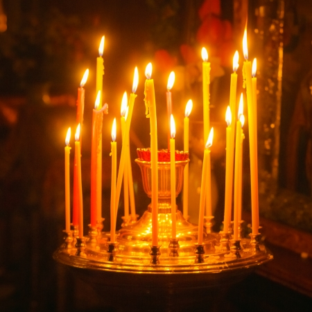 belarus: GOMEL - MAY 4: Interior Of Belarusian Orthodox Church. Candles On May 4, 2013 In Gomel, Belarus