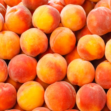 Peach close up fruit background Stock Photo