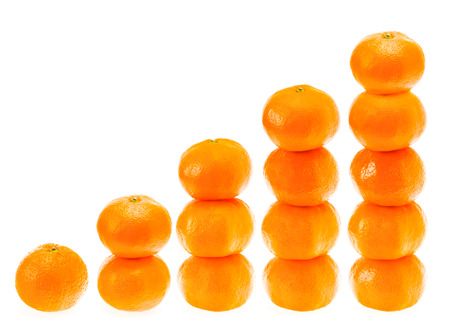 Stacked Fresh Mandarin Citrus Isolated Tangerine Mandarine Orange In Stack On White Background. Healthy Food Concept photo