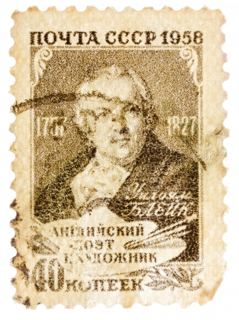 blake and white: USSR - CIRCA 1958: Postcard printed in the USSR shows Portrait of English poet and artist William Blake, circa 1958 Editorial