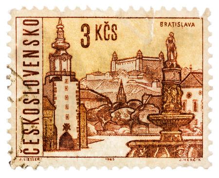 czechoslovak: USSR - CIRCA 1965: Postcard printed in the USSR shows  illustration Czechoslovak city - Bratislava, circa 1965 Editorial