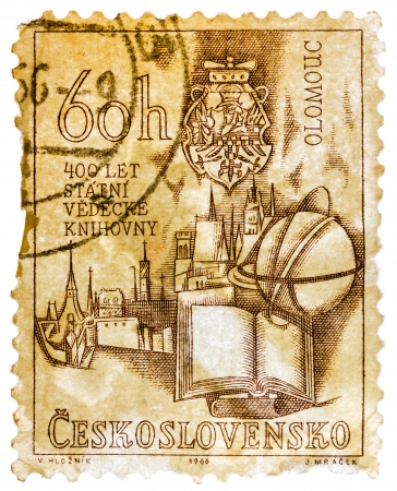 olomouc: CZECHOSLOVAKIA - CIRCA 1966: Stamp printed in the Czechoslovakia shows Holy Trinity Column and Olomouc Town Hall, Town Square, Olomouc, Bohemia and Moravia, circa 1966