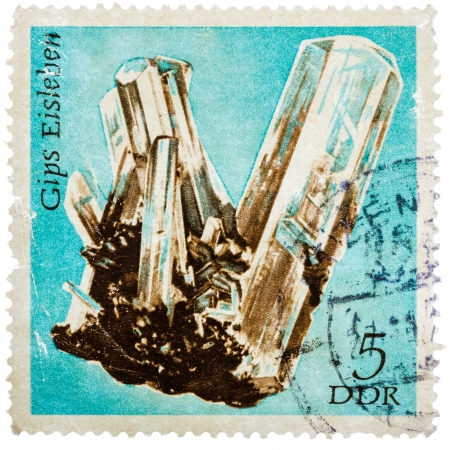 east of germany: GDR- CIRCA 1972: Stamp printed in German Democratic Republic (East Germany) shows semiprecious stone Gyps, circa 1972