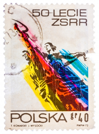 POLAND - CIRCA 1972: Stamp printed in the Poland shows Man and Woman, Sculpture by Wiera Muchina, 50th Anniversary of the Soviet Union, circa 1972
