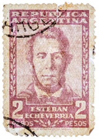 overprint: ARGENTINA - CIRCA 1957: A stamp printed in the Argentina, shows Esteban Echeverria (overprint Servicio Oficial), circa 1957