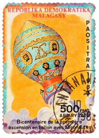 MALAGASY - CIRCA 1983: Stamp printed in the Malagasy shows bicentenary of the first balloon ascent with aeronauts, circa 1983 Editorial