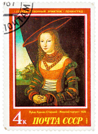 USSR - CIRCA 1987: A stamp printed in USSR (Russia) shows a painting Portrait of a Woman by Cranach with the same inscription, series West European Art in Hermitage Museum, Leningrad, circa 1987
