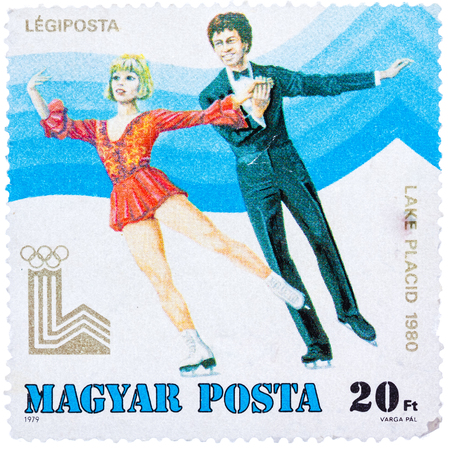 HUNGARY - CIRCA 1979: a stamp printed in the Hungary shows Figure Skating, Winter Olympics Lake Placid 1980, circa 1979