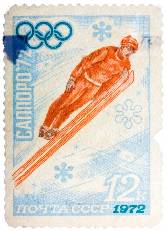USSR - CIRCA 1972: A stamp printed in the USSR shows ski jumper, series honoring Olympics in Sapporo, Japan, circa 1972
