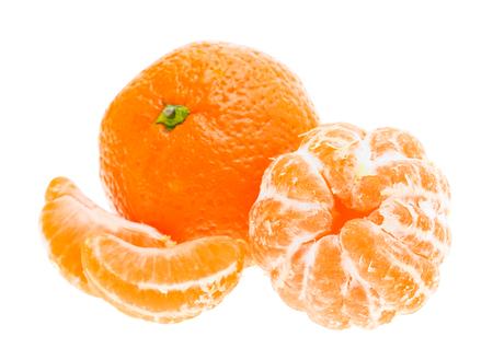 Peeled tasty sweet tangerine orange mandarin fruit isolated on white Stock Photo