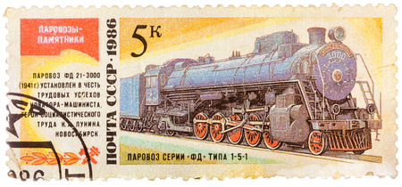 USSR- CIRCA 1986: A stamp printed in the USSR shows the FD 21-3000 steam locomotive made in 1941, circa 1986.