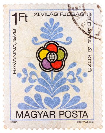 HUNGRIA - CIRCA 1978: selo, impresso, Hungria mostra emblema Congresso como flor, circa 1978